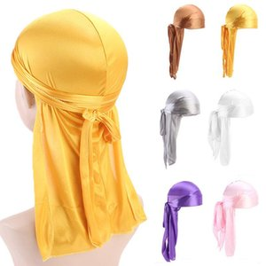 Fashion Pirate Hat Men And Women Long Tail Turban Hat Solid Color Satin Turban Outdoor Fashion Decorative Hat Hip Hop Party Hats BEE1223