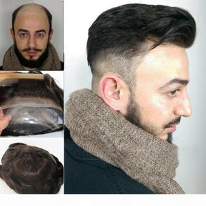 100% Swiss French lace q6 base male Toupee system For Men Bleached tiny Knots Hair Replacement system
