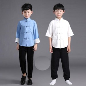 Flax Male Children Chinese Ming Costume Shirt+pants Boy Chinese Tunic Suit Kids Tang Costume Suit Clothes 18