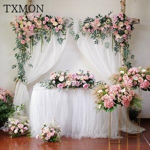 Txmon boda rosa floral arco fake flor ventana triángulos fila artificial flor pared hotel boda etapa fondo decorativo Z1202