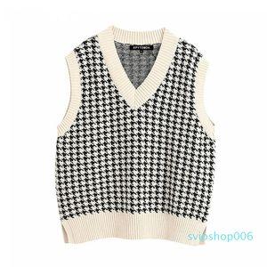 Women Fashion Oversized Knitted Vest Sweater V Neck Sleeveless Side Vents Loose Female Waistcoat Chic Tops 201223