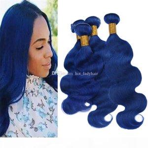 Virgin Péruvien Bleu Cheveux humains 4 Bundles offres Wave Body Wave Way Blue Tissu Double Wefts Extensions 400g Lot