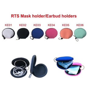Sublimation blank Neoprene Small Coin Purse Face Mask Holder Earphone Bags Zipper printing Purse solid Zipper Coin Pouch YYA512