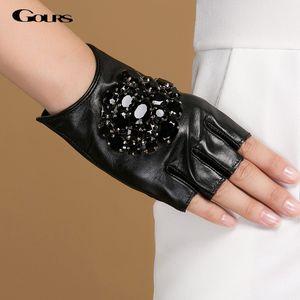 Gours зимние из натуральной кожи перчатки способа женщин Марка Черный камень вождения перчатки без пальцев женские сафьян варежки GSL040 1012