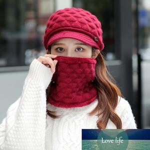 Women Winter 2Pcs Set Visor Brim Chunky Knit Beanie Hat Plush Lined Circle Scarf X7YA