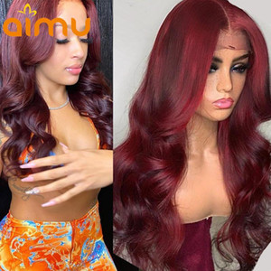 Colored 99J Burgundy 13x6 Lace Frontal Wig Hd Deep Body Wave Pre Plucked Glueless Red Human Hair Wig For Women 250% Density Remy