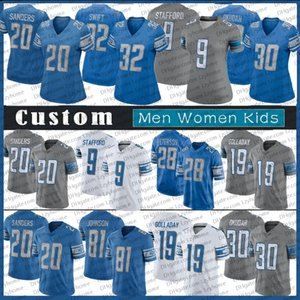 Uomini personalizzati Donne Gioventù Jeff Okudah Matthew Stafford Kenny Golladay Barry Sanders Adrian Peterson D'Andre Swift DetroitMaglie di calcio