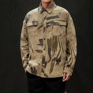 2020 UYUK New Autumn winter Japanese Loose Overalls Casual Print Decorative Lapel Long-sleeved Men's Jackets Hombre