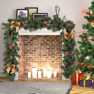 Décor de Noël 1.8M rotin artificiel fleur ornement d'arbre extérieur Garland Couronne Pendant Xmas Party Supplies Stairs porte décor