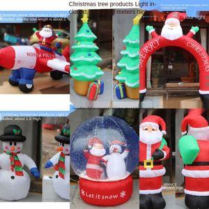 BUfPL lámpara de arco de muñeco de nieve ciervos de gases de Santa Claus Decoración ciervos arco inflable modelo de gas del muñeco de nieve Decoraciones de la Navidad inflable Sa
