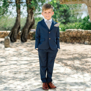Cheap Navy Blue Two Pieces Boy's Tuxedos 2 Button Notched Lapel Kids Formal Wear Costume Uniform Clothes Tuxedos Party Suit