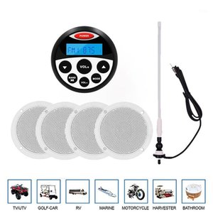 "Marine Stereo Boat Audio Bluetooth Radio Car MP3 Player For Motorcycle ATV UTV+2 pair 4"" Waterproof Marine Speaker+FM AM Antenna1"