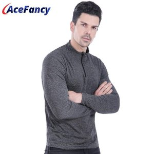 Acefancy Training Long Sleeve Zipper Front Crop Top Quick Dry Gym T-Shirt For Mens Running Sport Shirts Gym Fitness 71603