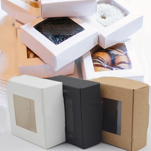 300PCS 3colors White Black Brown Paper Box with PVC Window Packing Boxes Wedding Favor Gift Box Bread Biscuit Cookie Holder Baking Supplies