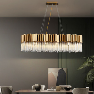 Modern crystal chandelier for dining room  kitchen island lighting fixture rectangle brushed gold hanging cristal lamps