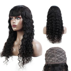 Malaysian Human Hair Wigs With Bangs Water Wave Brazilian Human Hair Wigs for Black Women Wet and Wevy Hair Natural Color Machine Made Wigs
