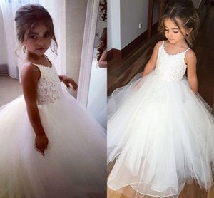 2021 Spaghetti Straps Wedding Flower Girl Dresses Lace Tulle Puffy Pirncess Little Girl's Pageant Party Gowns First Communion Dress AL7304