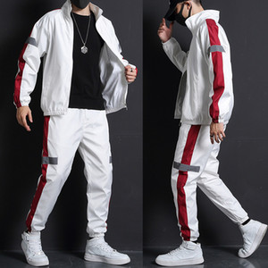 2020 Men Fashion Tracksuit Spring Autumn Reflective Sweatshirt +Sweatpants Tracksuit Set Men New Patchwork Slim Fit Sweat Suits A1105
