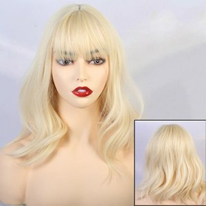 Women's Curly Wavy Synthetic Cosplay Wigs for Girl Costume Blonde Gold Color Wig