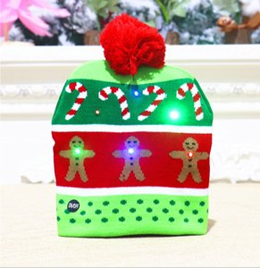 Christmas decorations adult children knitted Christmas hats Colorful glowing knitted hats high-end Christmas hats for the elderly