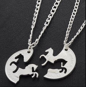 Horses Puzzle Coin Charm Animal Best Friend Couple Love Lovers Gifts Friendship Pendant Necklaces Women Men ps2823