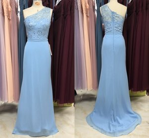 Elegant One shoulder Light Blue Bridesmaid Dresses Lace Top Mermaid 2021 Zipper Backless Bridesmaids Party Prom Dress Gowns Junior Women