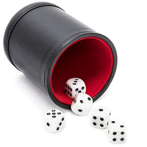 Popular Flannel Screen Pu Game Throwing Advertising Leisure Leather Dice Cup 7XW5