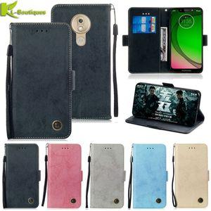 Leather on Fundas Flip Case For Motorla Moto G7 Power G6 G5s E5 G 7 Plus P30 Play Cover Wallet Phone Cases