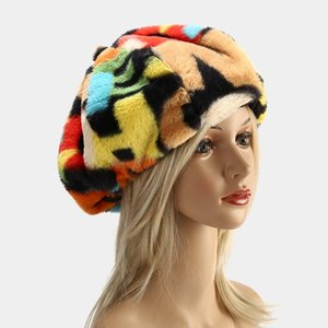 Rabbit Fur Woman Fashion Slouch Beanie New Style Winter Warm Street Travel Snow Outdoor Beanie Caps 2 Color
