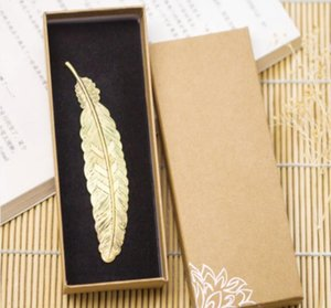 Chinese Wind Metal Brass Creative Feathers Bookmarks Retro Classic Boxed Ancient Book Mark Birthday Christmas Gift SN1929