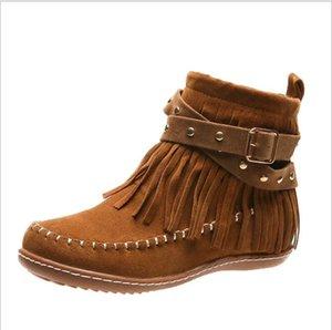 New hand sewn tassel women's short boots flat bottom rivet belt buckle women's boots in autumn and winter 2020