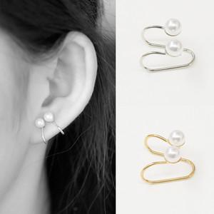 European and American simple style without pierced double pearl ear clip ear buckle geometric U-shaped pearl earring ear clip wholesale