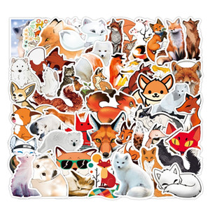 50 Pcs Lot Wholesale Hotsale Cartoon Cute Fox Stickers For Kids Toys Waterproof Sticker For Notebook Skateboard Laptop Luggage Car Decals