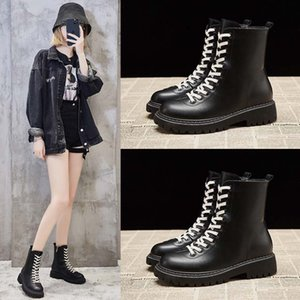 Classic Casual Black Plus Velvet Martin Boots Women's Winter Fashion Waterproof Thick-soled Warm High-top Lace-up Women's Boots