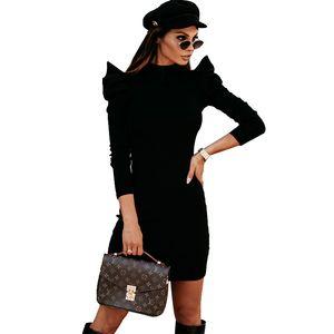Autumn Casual Women O Neck Dress Knit Puff Long Sleeve Bodycon Party Dress Elegant Office Lady Slim Knitted Vestdio