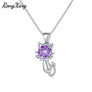 Rongxing الأرجواني / الأحمر / الأصفر / الوردي birthstone لطيف القط قلادة القلائد للنساء 925 الفضة مملوءة الزركون سيدة بيان necklace1