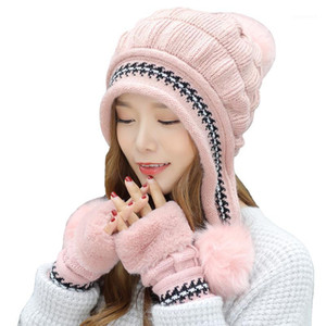 Girl Warm Ski Brand Fur Pom Poms Warm Gloves + knit hat set Winter Women Wool Beanie Hat thick Skullies Female Cap1