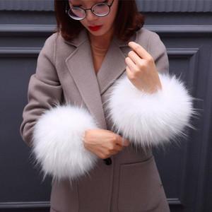 Líder de lana de gran tamaño Boca Terry piel Manguito puños de muñeca de la pulsera de piel falsa de mano mangas anillo a juego Mujeres CN (Origen)
