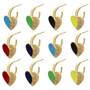 ZHUKOU 1 pair Exquisite 17x22mm CZ Crystal colorful heart Enamel hoop Earring with ear backs for women stud Earring model:VE2451