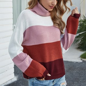 Blast 2020 autumn winter new striped hit-and-color knitwear Europe and the United States loose-sleeved high-neck sweater girl.