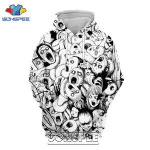 SONSPEE 3D Imprimer Junji Ito Hoodie Hommes Femmes Casual Streetwear Hip Hop manches longues loisirs Pull Tops Horror Anime Sweat 201113