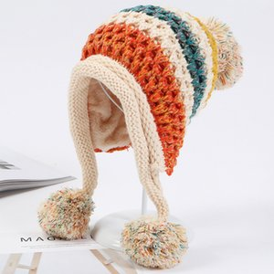 HT1996 2018 New Winter Knitted Hats Women Patchwork Pompon Balls Earflap Caps Ladies Warm Thick Winter Beanies Female Beanie Hat Y200102