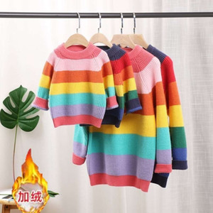 wear 2020 new spring autumn parent-child color stitched primary and secondary school girls rainbow sweater