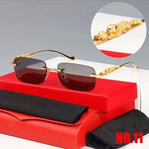 2021 Классическая мода квадратные солнцезащитные очки мужчины женщины изысканные гепард логотип оптический очки маленький леопардовый серебряный золотой металлические рамки унисекс с коробкой