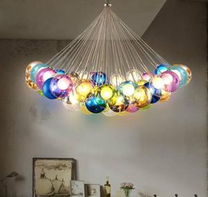 Art Deco G4 LED Colorful Glass Pendant Light Chandelier Ceiling lamp Fixture New For Bedroom Bar Living Room Home Lighting