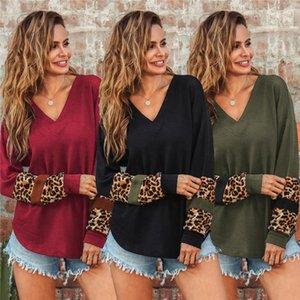 Manga comprida V Neck Outono Inverno Womens Casual Designer camisola de malha Womens Leopard Print Patchwork Sweater