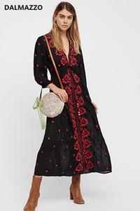 Casual Dresses 2021 Est Women Holiday Black Red Print Embroidery Deep V Neck Bohemia Long Cotton Beach Loose Dress Turkish Robe XL