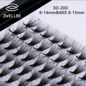 Zwellbe Lashes 12 Lines Premade Volume Fans C D 3D-20D Lash Russian Volume Eyelash Extensions Pre made Lash Extension Faux Mink