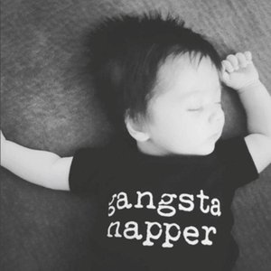 Gangsta Napper Letters Print Baby Bodysuit Black Short Sleeve Baby Boy Girl Oneises Rompers Jumpsuit Clothes Outfits Sunsuits