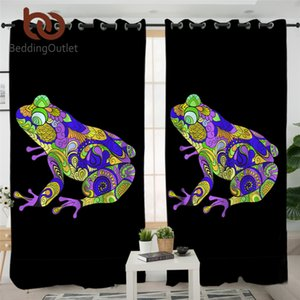 BeddingOutlet Frog Blackout Curtains Animal Window Curtains Kitchen Colorful Living Room Curtain Abstract Bedroom Curtain 1pc Towel